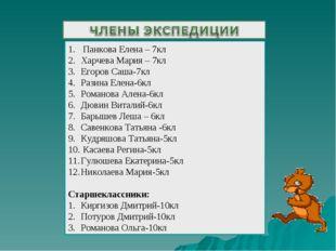 Панкова Елена – 7кл Харчева Мария – 7кл Егоров Саша-7кл Разина Елена-6кл Ром