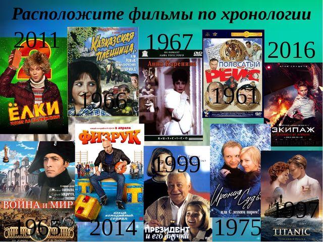 Расположите фильмы по хронологии 2011 1966 1967 1965 2016 1961 1997 1975 1999...