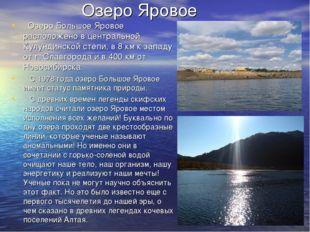 Озеро Яровое Озеро Большое Яровое расположено в центральной Кулундинской степ