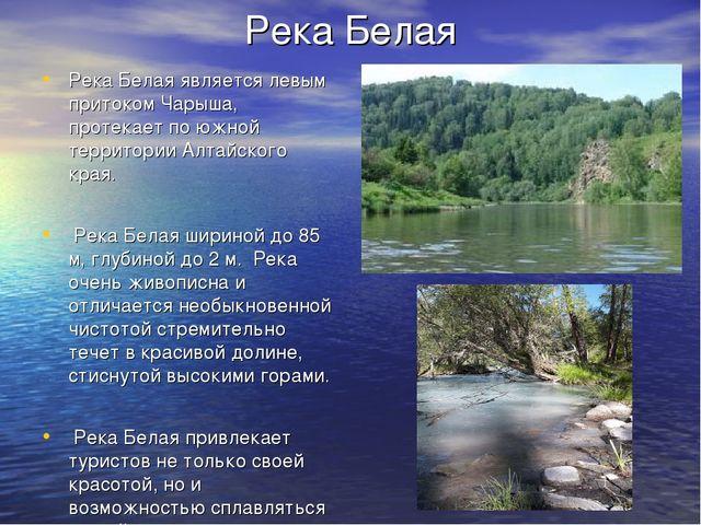 Река Белая Река Белая является левым притоком Чарыша, протекает по южной терр...