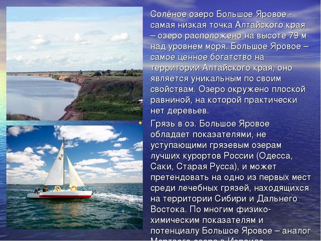 Солёное озеро Большое Яровое - самая низкая точка Алтайского края – озеро рас...