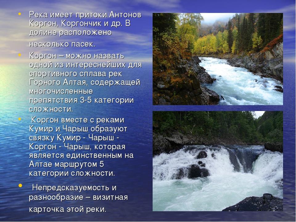 Река имеет притоки Антонов Коргон, Коргончик и др. В долине расположено неско...