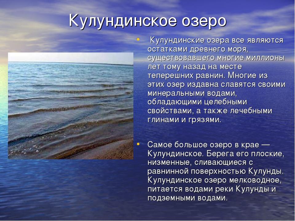 Кулундинское озеро Кулундинские озера все являются остатками древнего моря, с...