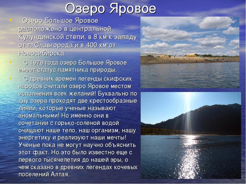 Озеро Яровое Озеро Большое Яровое расположено в центральной Кулундинской степ...