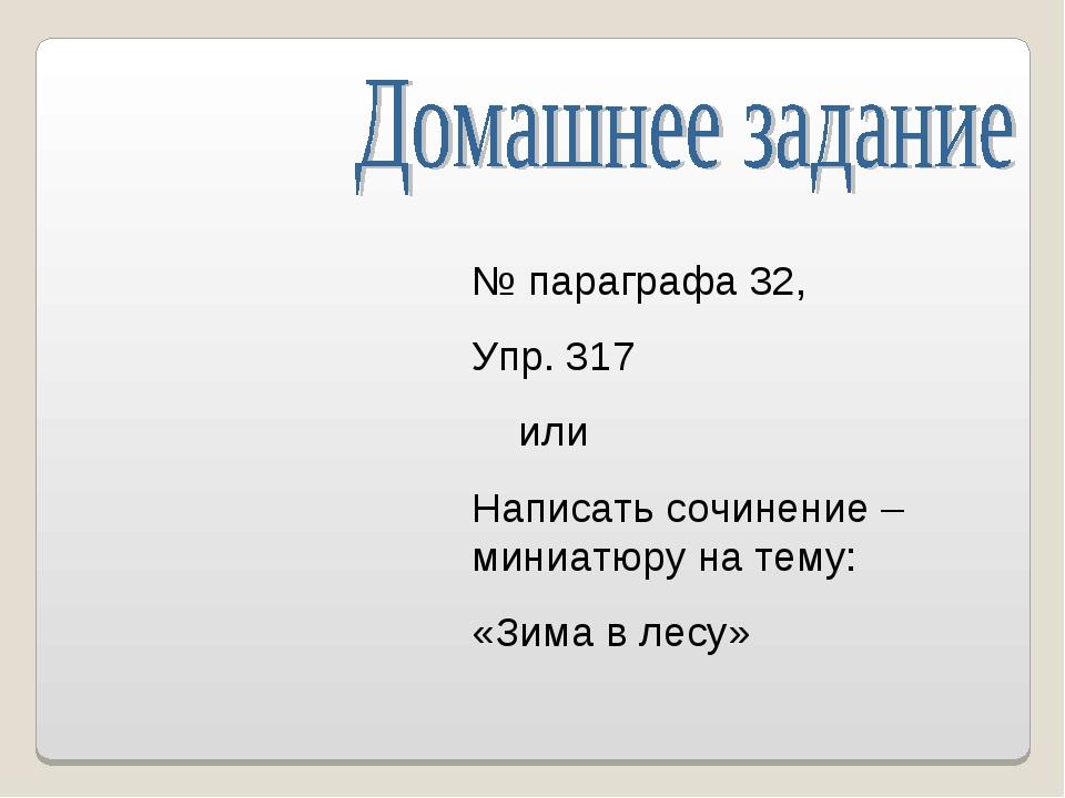 № параграфа 32, Упр. 317 или Написать сочинение – миниатюру на тему: «Зима в...