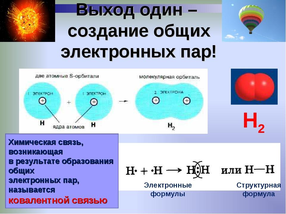Выход один – создание общих электронных пар! Химическая связь, возникающая в...