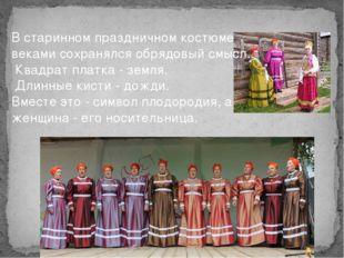 Мезенский костюм В старинном праздничном костюме веками сохранялся обрядовый