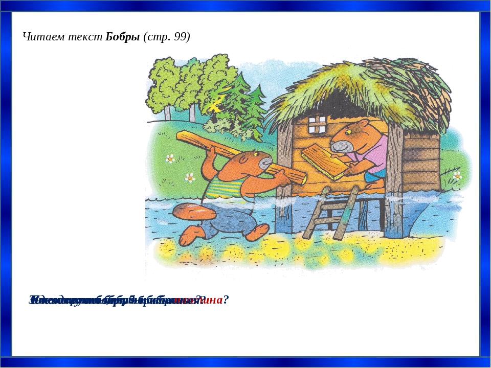 Читаем текст Бобры (стр. 99) С чем сравнили зубы бобров Где живут бобры? Что...