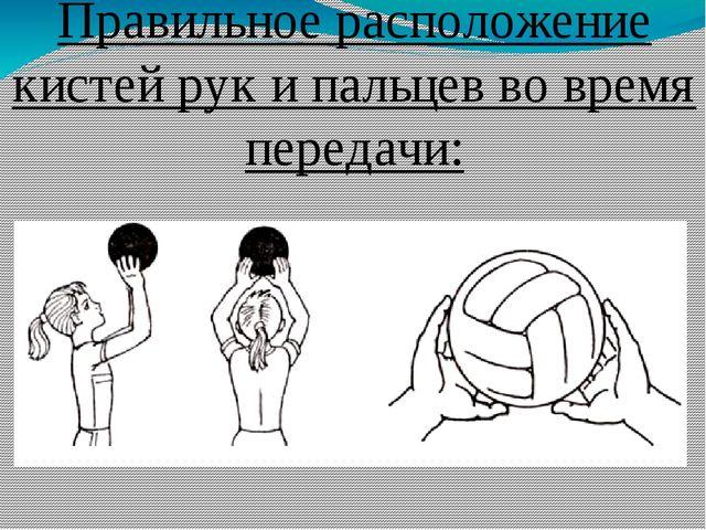 Правильное расположение кистей рук и пальцев во время передачи: