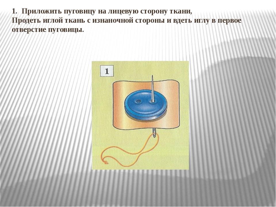1. Приложить пуговицу на лицевую сторону ткани, Продеть иглой ткань с изнаноч...