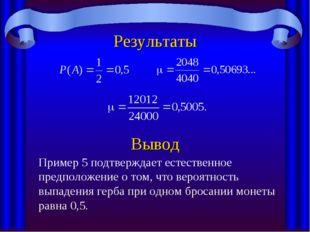 Результаты Вывод Пример 5 подтверждает естественное предположение о том, что
