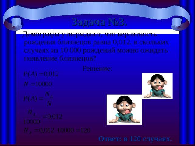 Задача №3. Демографы утверждают, что вероятность рождения близнецов равна 0,0...