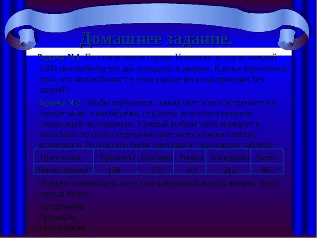 Домашнее задание. Задача №1. По статистике в городе Новинске за год из каждой...