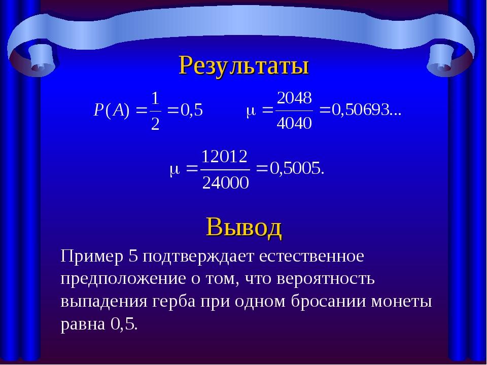 Результаты Вывод Пример 5 подтверждает естественное предположение о том, что...