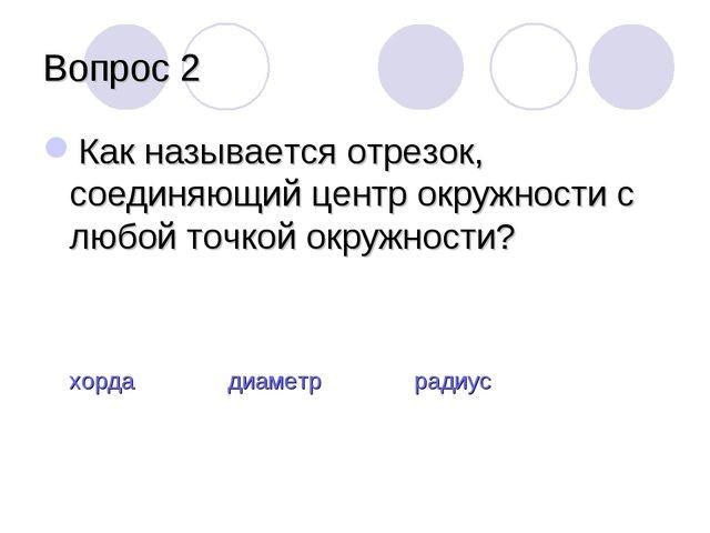 Вопрос 2 Как называется отрезок, соединяющий центр окружности с любой точкой...