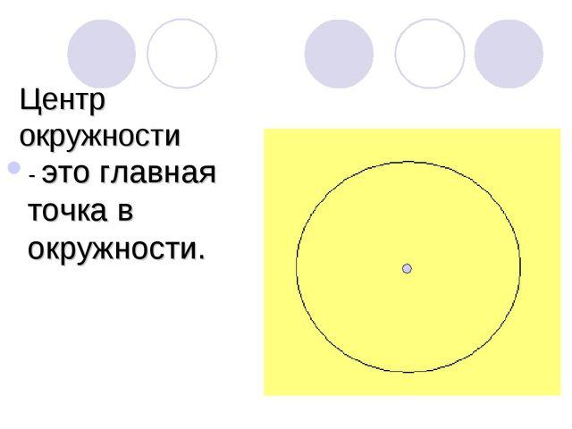 Центр окружности - это главная точка в окружности.