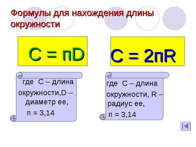 Формулы для нахождения длины окружности С = пD где С – длина окружности,D –ди...