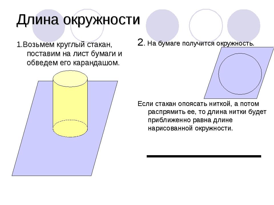 2. На бумаге получится окружность. Если стакан опоясать ниткой, а потом распр...