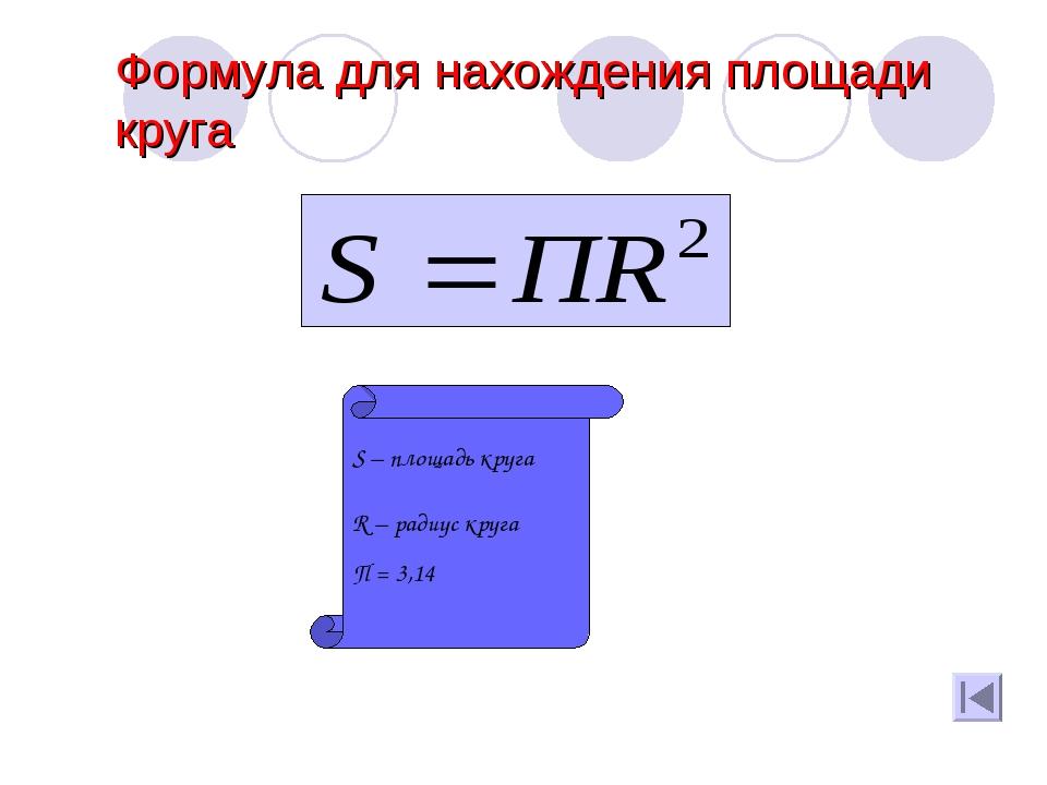 Формула для нахождения площади круга S – площадь круга R – радиус круга П = 3...