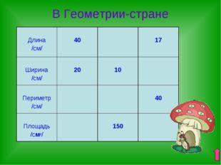 В Геометрии-стране Длина /см/ 40  17 Ширина /см/ 20 10 Периметр /см/