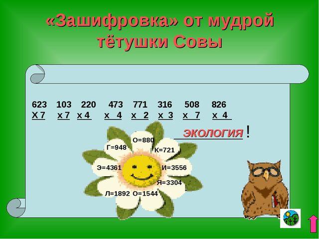 «Зашифровка» от мудрой тётушки Совы 103 220 473 771 316 508 826 Х 7 х 7 х 4 х...