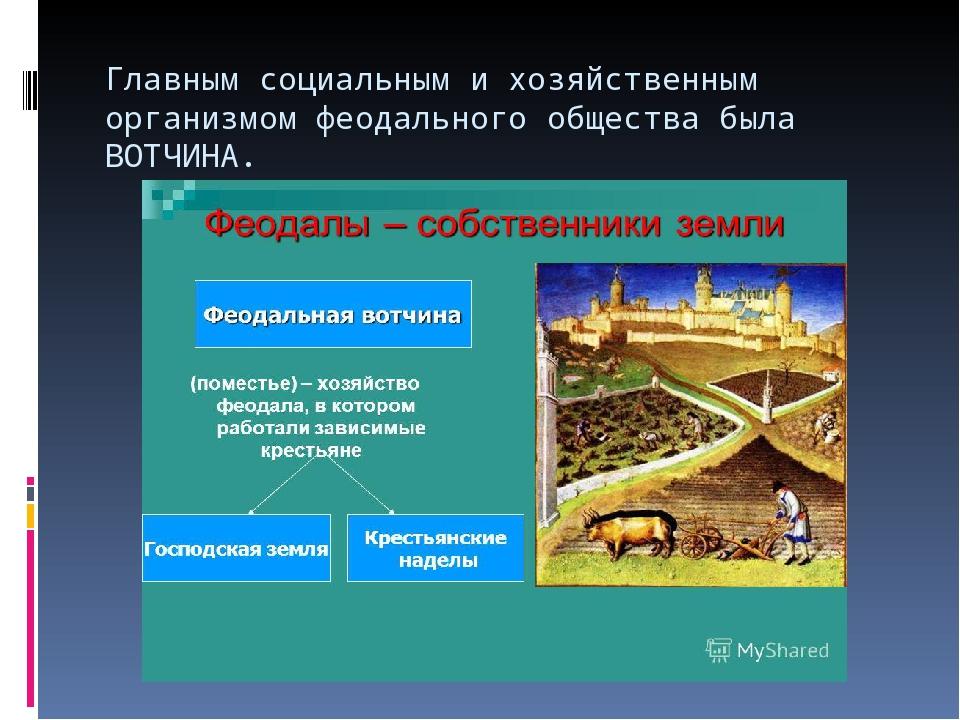 Главным социальным и хозяйственным организмом феодального общества была ВОТЧИ...