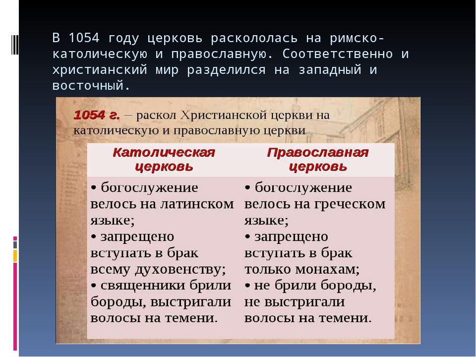 В 1054 году церковь раскололась на римско-католическую и православную. Соотве...