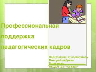 Профессиональная поддержка педагогических кадров Подготовила: ст.воспитатель