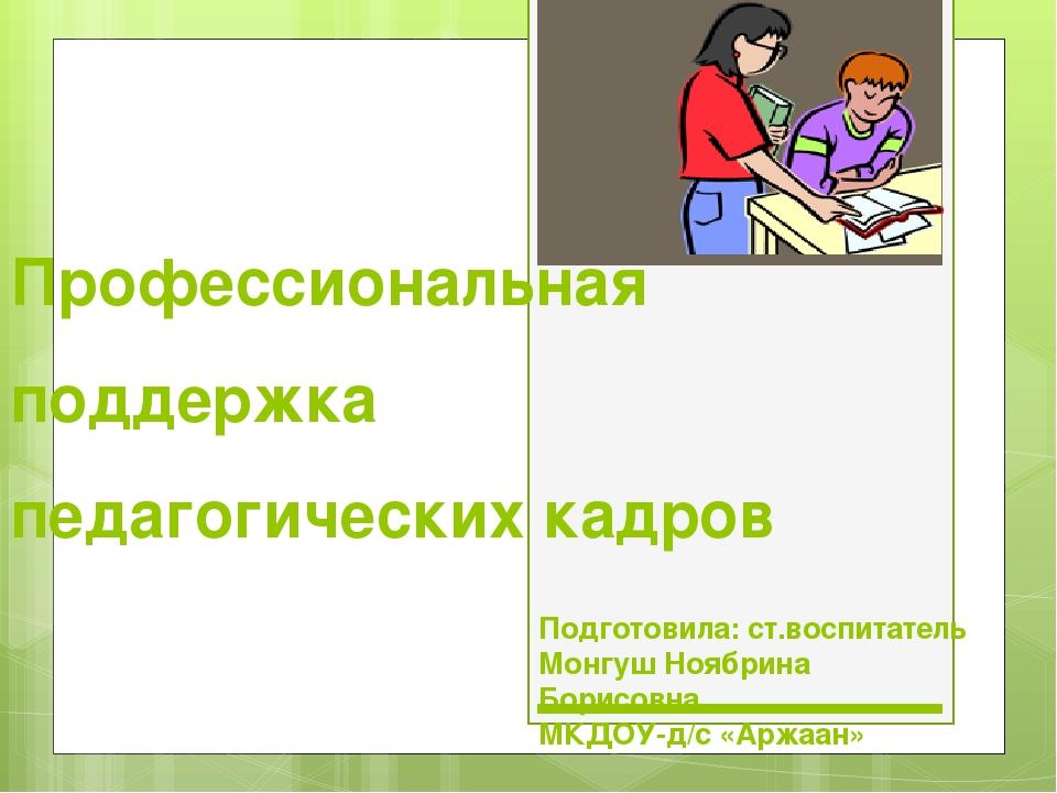 Профессиональная поддержка педагогических кадров Подготовила: ст.воспитатель...
