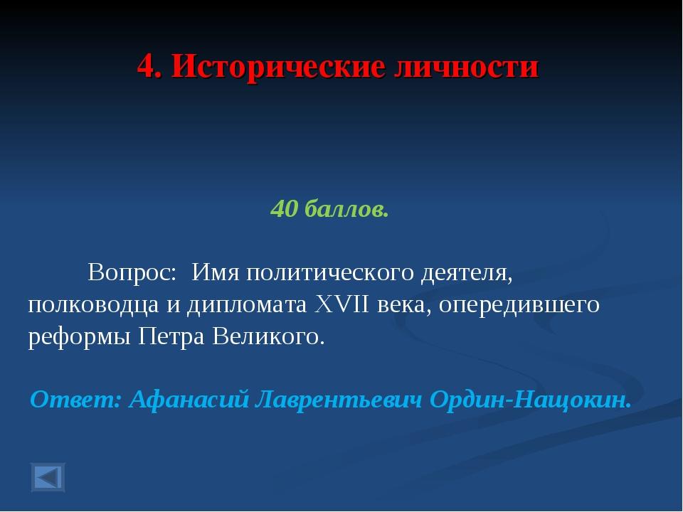 4. Исторические личности 40 баллов. Вопрос: Имя политического деятеля, полков...
