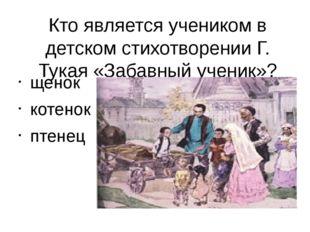 Кто является учеником в детском стихотворении Г. Тукая «Забавный ученик»? щен