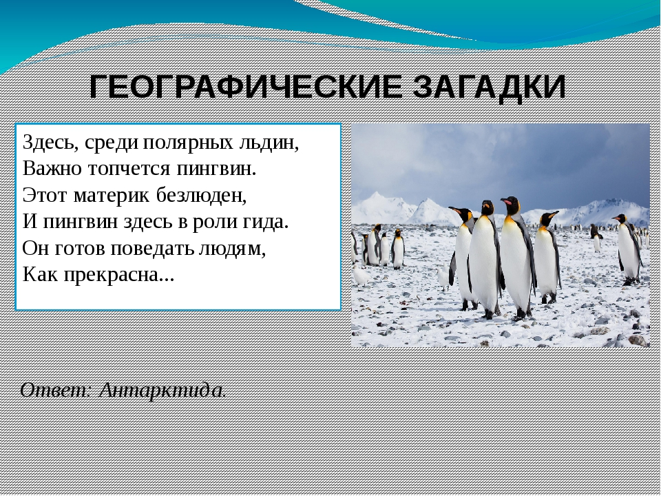 ГЕОГРАФИЧЕСКИЕ ЗАГАДКИ Здесь, среди полярных льдин, Важно топчется пингвин. Э...