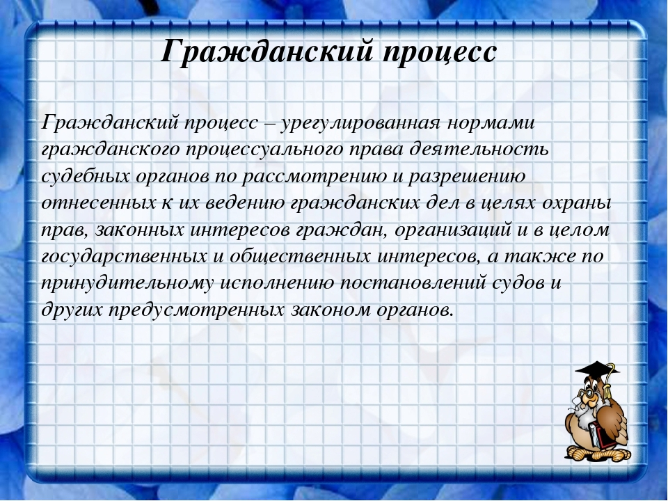 Гражданский процесс Гражданский процесс – урегулированная нормами гражданског...