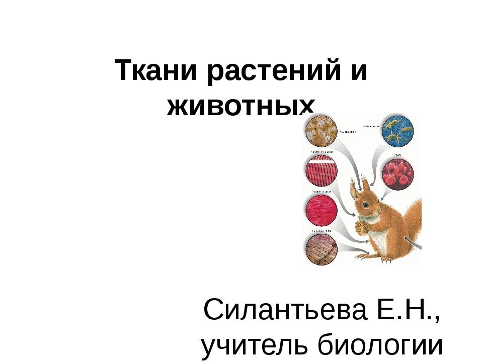 Ткани растений и животных Силантьева Е.Н., учитель биологии МБОУ «Хоринская С...