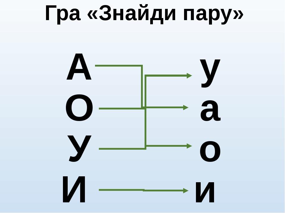 Гра «Знайди пару» А О У И у а о и
