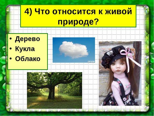 4) Что относится к живой природе? Дерево Кукла Облако