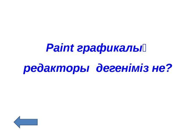 Paint графикалық редакторы дегеніміз не?