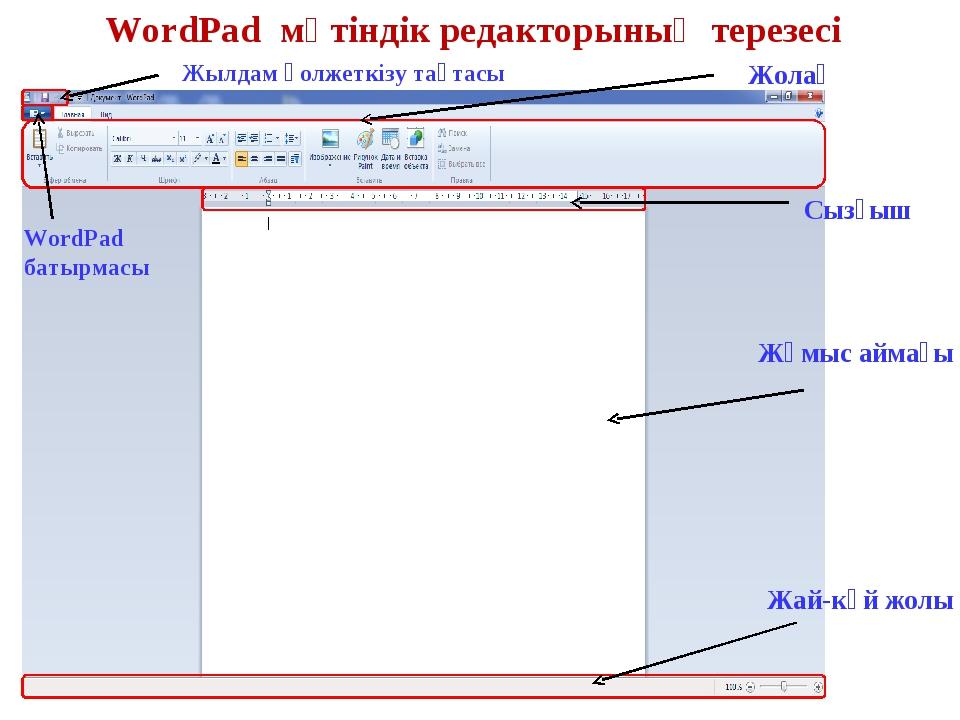 WordPad мәтіндік редакторының терезесі Жылдам қолжеткізу тақтасы WordPad бат...