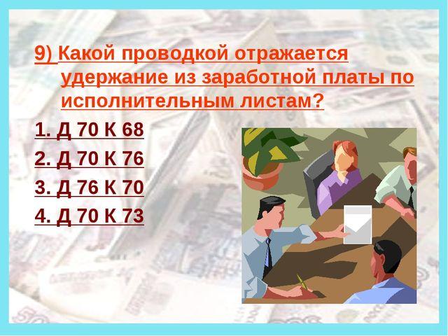 Деньги 9) Какой проводкой отражается удержание из заработной платы по исполн...