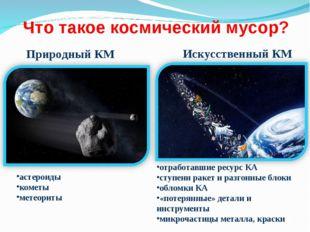 Что такое космический мусор? Природный КМ астероиды кометы метеориты Искусств