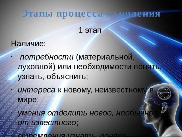 Этапы процесса мышления 1 этап Наличие: потребности (материальной, духовной)...
