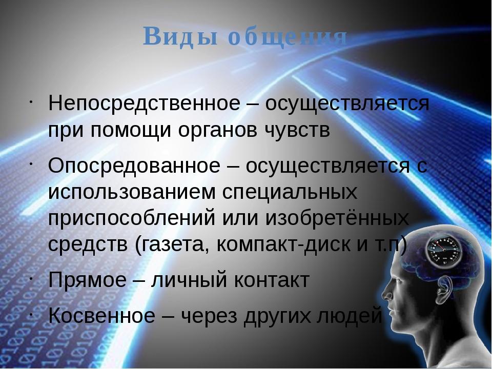 Виды общения Непосредственное – осуществляется при помощи органов чувств Опос...