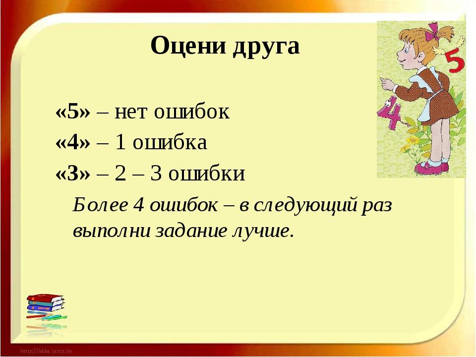 Оцени друга «5» – нет ошибок «4» – 1 ошибка «3» – 2 – 3 ошибки Более 4 ошибок...