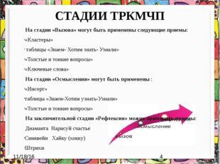 СТАДИИ ТРКМЧП На стадии «Вызова» могут быть применены следующие приемы: «Клас