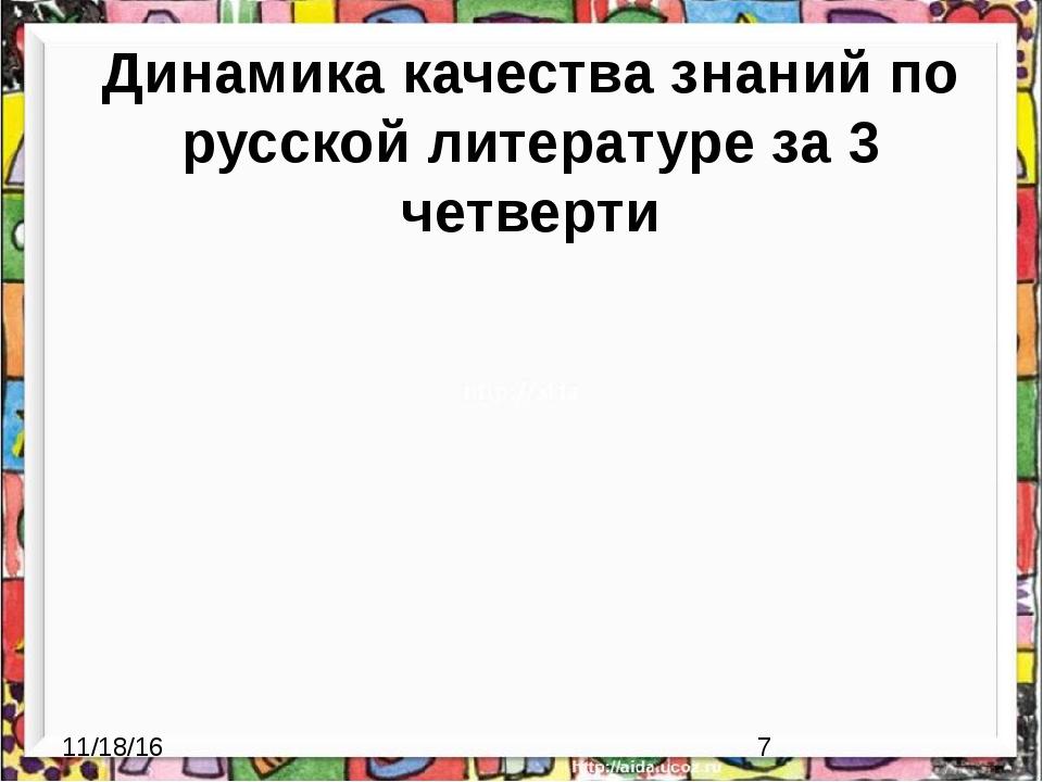 Динамика качества знаний по русской литературе за 3 четверти