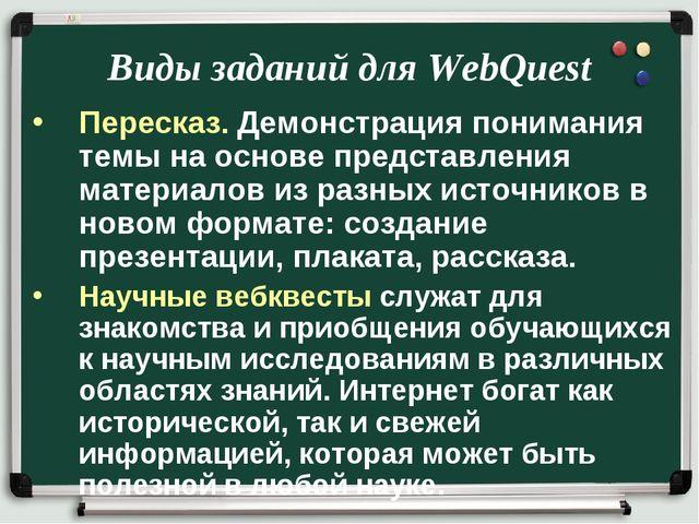 Виды заданий для WebQuest Пересказ. Демонстрация понимания темы на основе пре...