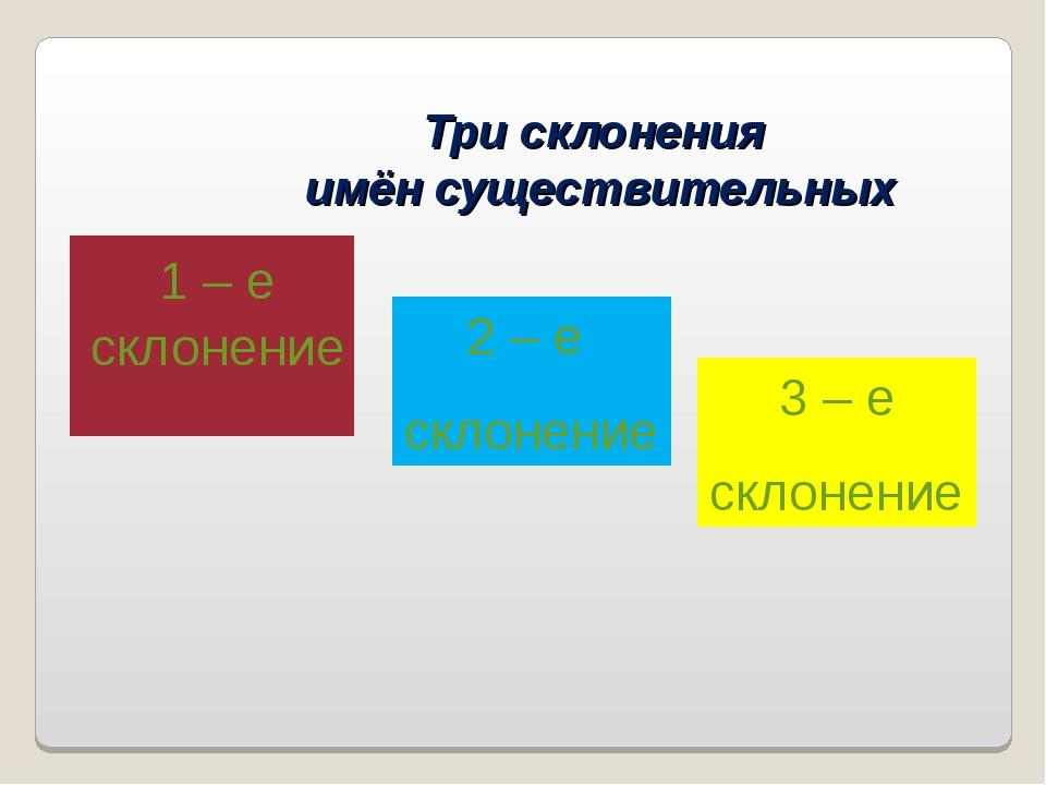 Три склонения имён существительных 1 – е склонение 2 – е склонение 3 – е скло...