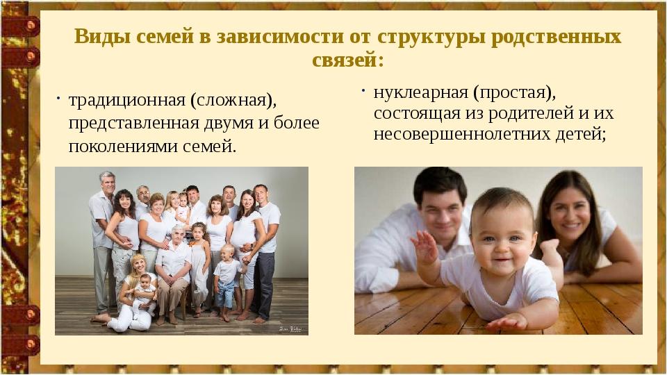 Виды семей в зависимости от структуры родственных связей: традиционная (сложн...