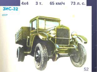 * 4х4 3 т. 65 км/ч 73 л. с. 52 1