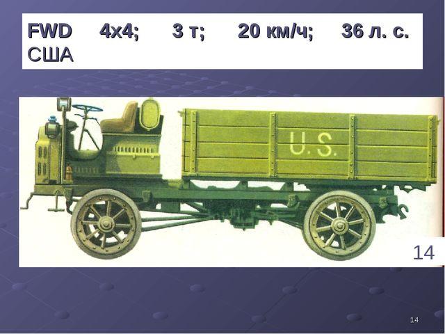 * FWD 4х4; 3 т; 20 км/ч; 36 л. с. США 14 1